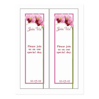 2 Purple Orchid Bookmarks Save the Date Postcard