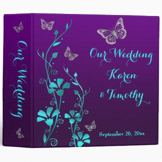 "2"" Purple, Teal Floral, Butterfly Wedding Binder"