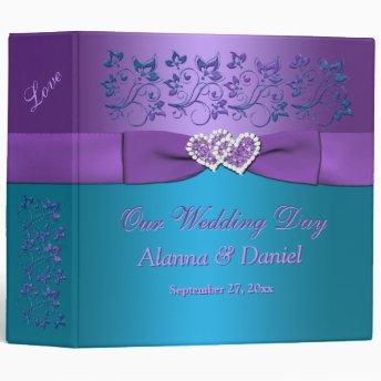 "2"" Purple, Teal Floral, Hearts Wedding BINDER"