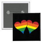 2 Rainbow Hearts Button