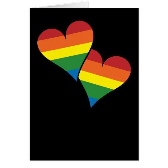 2 Rainbow Hearts Card