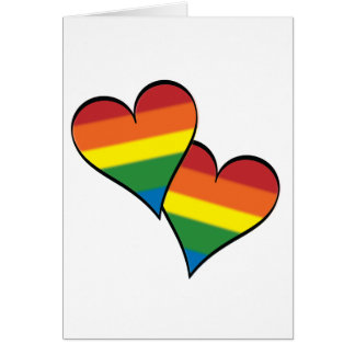 "2 Rainbow Hearts Embracing - Tall - ""Roses..."" Card"