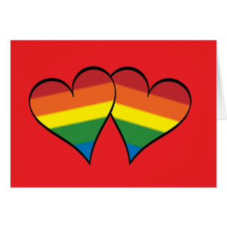 "2 Rainbow Hearts on Red - Wide - ""Roses..."" Card"