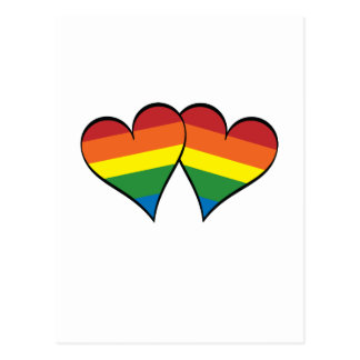 2 Rainbow Hearts Postcard