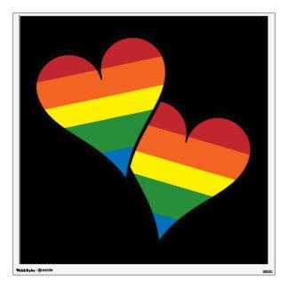 2 Rainbow Hearts Wall Decal