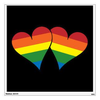 2 Rainbow Hearts Wall Sticker