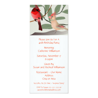 2 Red Birds in Nature Custom Year Birthday Party Card