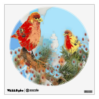 2 Red Birds Wall Decal