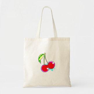 2 red cherries design tote bag