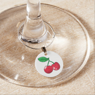 2 red cherries friends wine glass charm