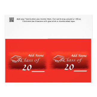 2 RED Graduation Favor Custom Candy Bar Wrapper Personalized Flyer