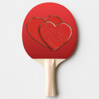 2 RED HEARTS / 2 ROTE HERZEN + your text & backgr. Ping-Pong Paddle