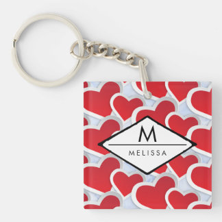 2 Red Hearts Repeating Pattern Cute Custom Keychain