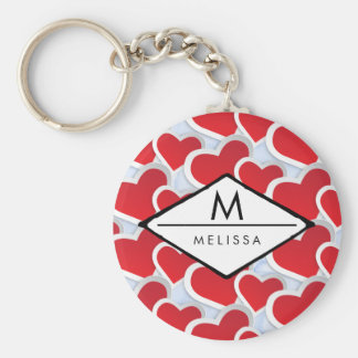 2 Red Hearts Repeating Pattern Cute Keychain