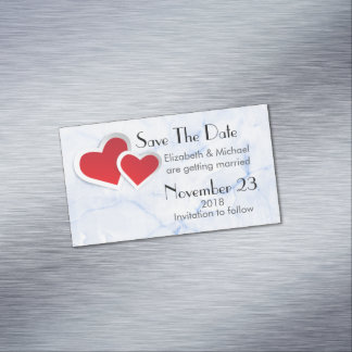 2 Red Hearts Wedding Save The Date Magnetic Business Card