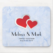2 Red Paper Hearts on Icy Blue Marble Custom Mouse Pad