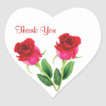 2 red roses Wedding Thank you Sticker