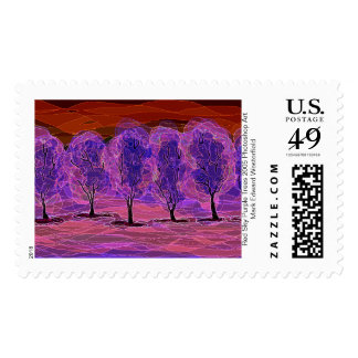 2 Red Sky Purple Trees 2005 Photoshop Art Drawing. Postage