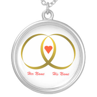 2 RINGS & HEART Her Name, His Name Custom Necklace