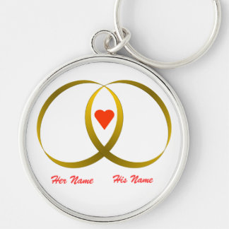 2 rings & heart, Her Name, His Name Keychains