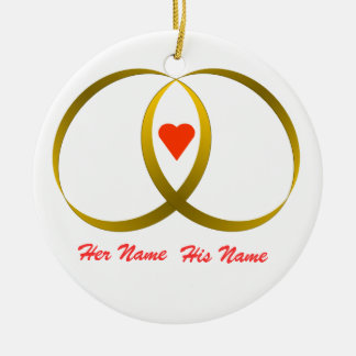 2 rings & heart, Her Name, His Name Christmas Ornaments