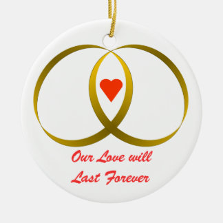 2 rings & heart, Our Love willLast Forever Christmas Ornament