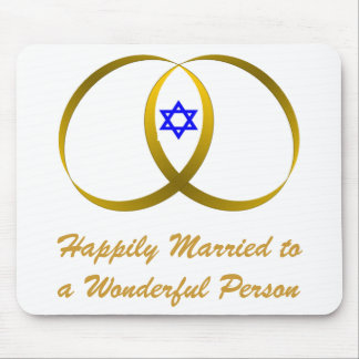 2 rings & STAR of DAVID, Happily Married... Mouse Pad