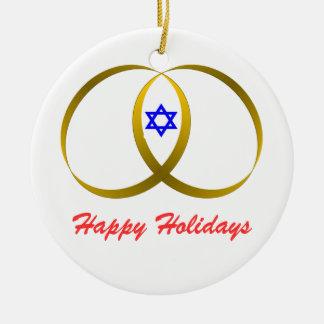 2 rings & STAR of DAVID, Happy Holidays Christmas Ornaments