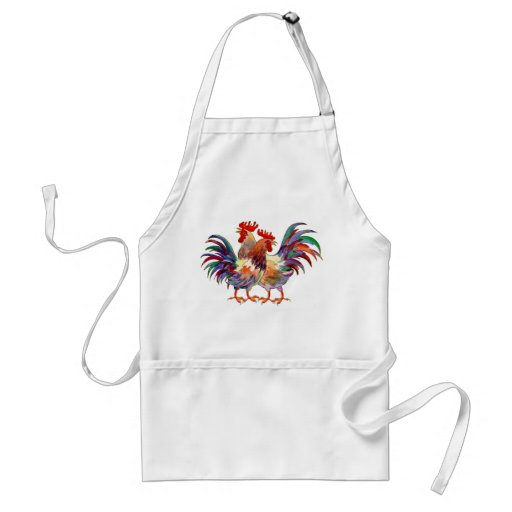 2 ROOSTERS by SHARON SHARPE Apron
