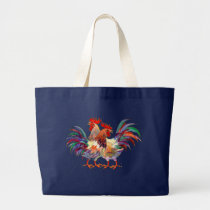 2 ROOSTERS by SHARON SHARPE Large Tote Bag
