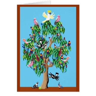 2 rosellas carmesís, y un cockatoo encima de un tarjeta de felicitación