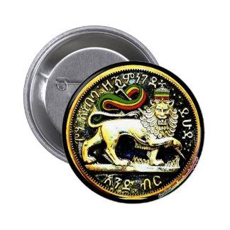 """2¼"""" Round Ethiopian Lion of Judah Coin Badge 2 Inch Round Button"""