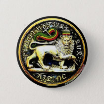"2¼"" Round Ethiopian Lion of Judah Coin Badge Button"