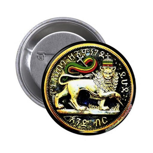 "2¼"" Round Ethiopian Lion of Judah Coin Badge Pins"