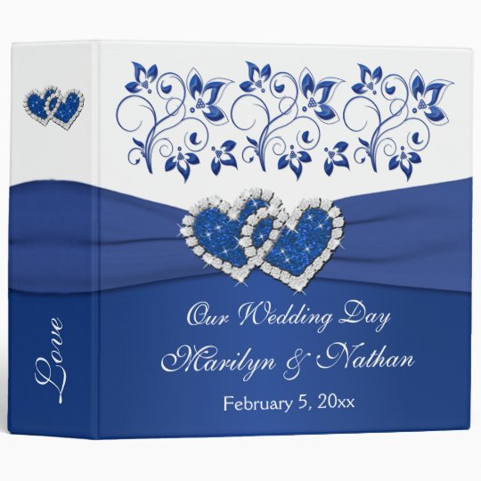 """2"""" Royal Blue, White Floral Joined Hearts BINDER"""