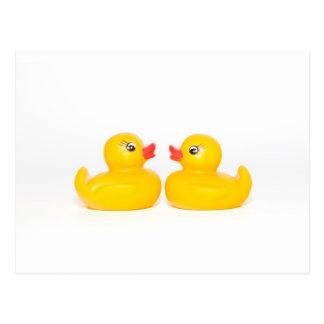 2 rubber ducks in love postcard