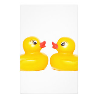 2 rubber ducks in love stationery design