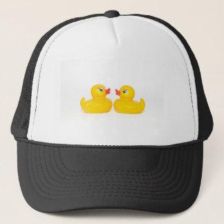 2 rubber ducks in love trucker hat