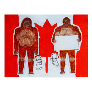 2 Sagittal big foot, 1 text on Canada flag, Postcard