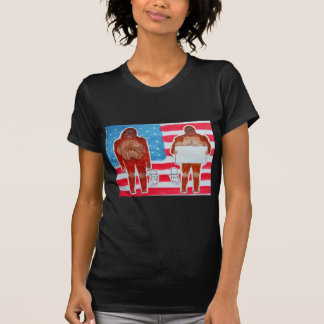 2 Sagittal Bigfoot, 1 text on U.S.A. flag,.JPG T-Shirt
