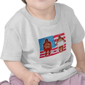 2 Sagittal Bigfoot 1 text on U S A flag JPG Tee Shirt