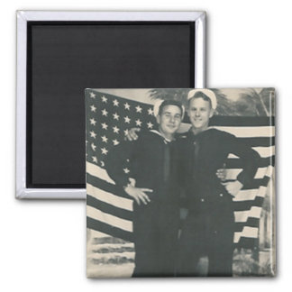 2 sailors front of flag magnet