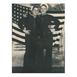 2 sailors front of flag postcard