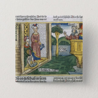 2 Samuel 11 1-5 David sees Bathsheba bathing, from Pinback Button