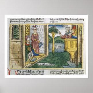 2 Samuel 11 1-5 David ve Bathsheba el bañarse, de Póster