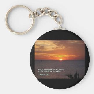 2 Samuel 22:33  Sunset Keychain