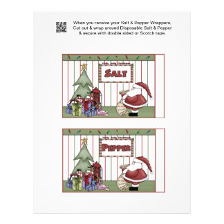 2 Santa Christmas Salt & Pepper Shaker Wrappers Flyer