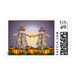 2 SCARECROWS by SHARON SHARPE Postage Stamp