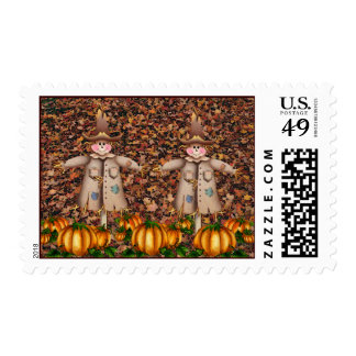 2 SCARECROWS by SHARON SHARPE Stamp
