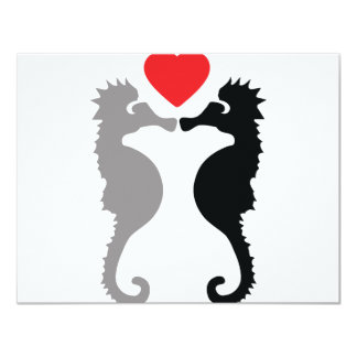 2 seahorses in love icon card